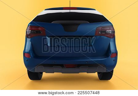 Compact City Crossover Blue Color On A Yellow Background. Back View. 3d Rendering