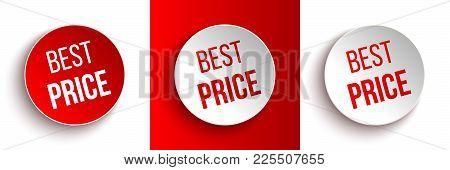 Set Of Color Best Price Buttons Or Badges. Vector Illustration.