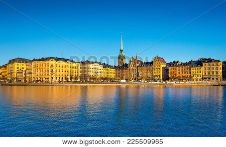 Stockholm cityscape. Skyline of the Sweden Capital city. Scandinavia, Northern Europe poster