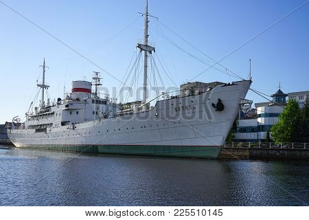 Kaliningrad, Russia - May 11, 2016: The Soviet Research Vessel Vityaz Is In The Museum Of The World