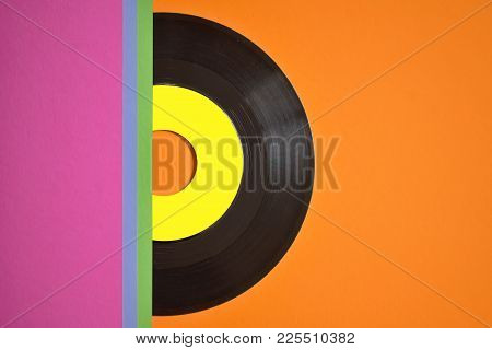 Template Of Vinyl Cover On Colored Background