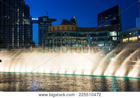 Dubai, United Arab Emirates - February 5, 2018: Dubai Fountain Show At Night With High Rising Water