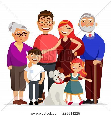 Happy Family Standing Together Hugging, Smiling. Mother, Father, Daughter And Son And Granny And Gra