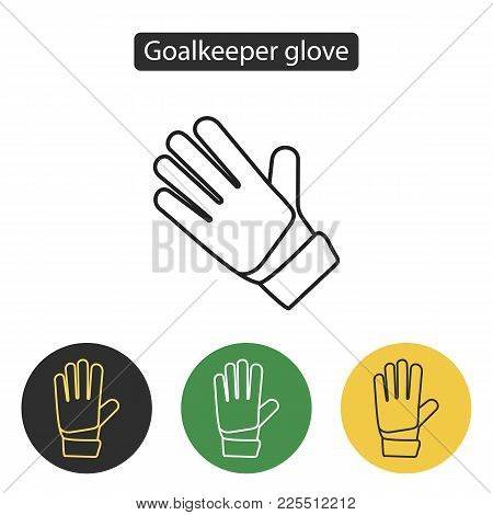 Soccer Goalkeeper Glove. Safety Hard Construction Glove Icon. Sport Accessories Collection For Info