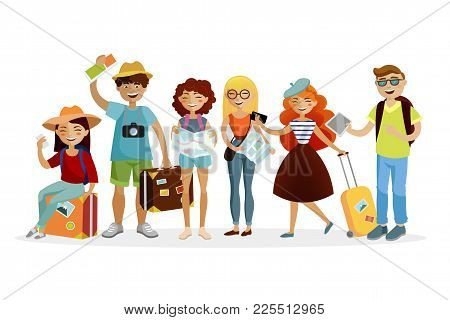 Group Of Tourists Cartoon Characters Vector Flat Illustration. Young Funny People With Suitcases Are