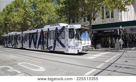 Melbourne, Australia: March 18, 2017: Tram In Melbourne City Center. Melbourne Has The Largest Urban