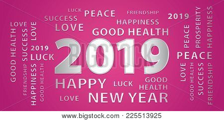 2019 Happy New Year Greetings Vector Banner. Pink And Silver.
