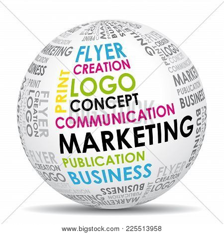 Marketing Communication World. Vector Design Agency Icon.
