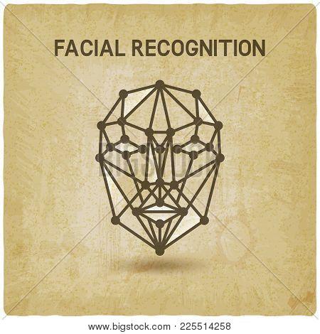 Facial Recognition System 3d Face Vintage Background. Vector Illustration - Eps 10
