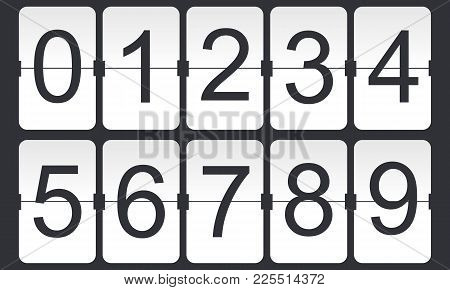 Digital Flip Numbers On Dark Background. Countdown Digits. Vector Illustration