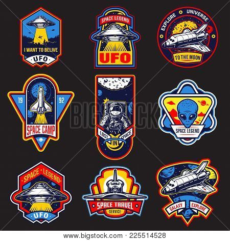 Set Of Vintage Space And Astronaut Badges, Emblems, Logos And Labels. Monochrome Style. Vector Illus