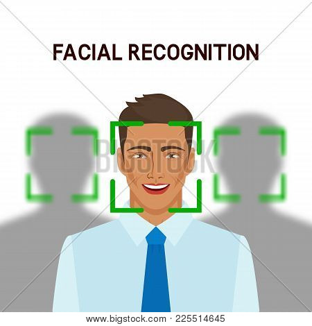 Facial Recognition Concept. Man In Crowd. Vector Illustration - Eps 8