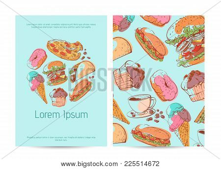 Takeaway Menu Cover With Fast Food Sketches. Restaurant Advertising, Delicious Street Food Vector Il