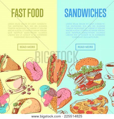 Fast Food Flyers With Sandwich, Muffin, Ice Cream, Taco, Donut, Hot Dog, Cup Of Coffee, Pizza And Ha