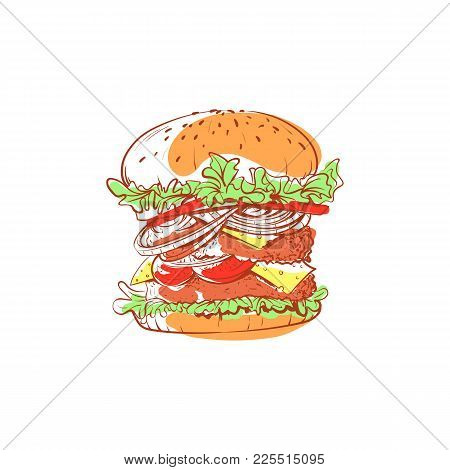 Tasty Hamburger Icon Isolated On White Background. Fast Food Label, Restaurant Takeaway Menu, Delici