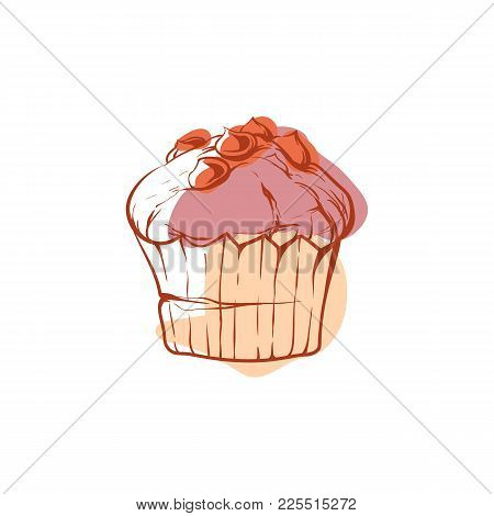 Tasty Muffin Icon Isolated On White Background. Fast Food Label, Restaurant Takeaway Menu, Delicious