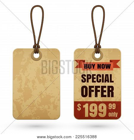 Vintage Cardboard Price Tag Or Sale Label Template In Retro Style With Special Offer And Blank Old C