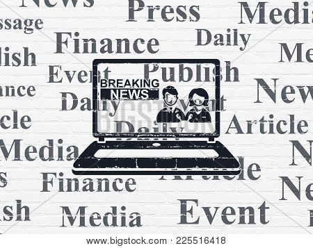 News Concept: Painted Black Breaking News On Laptop Icon On White Brick Wall Background With  Tag Cl