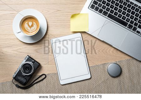Empty Tablet With Copy Space As Flat Lay And Template