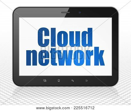 Cloud Networking Concept: Tablet Pc Computer With Blue Text Cloud Network On Display, 3d Rendering