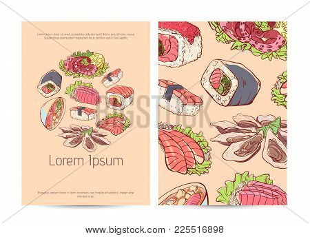 Japanese Restaurant Menu Cover Layout With Famous Asian Dishes. Delicious Octopus, Oysters, Tuna, Ni