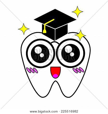 Graduating Tooth Wearing A Mortar Board With Tassel.