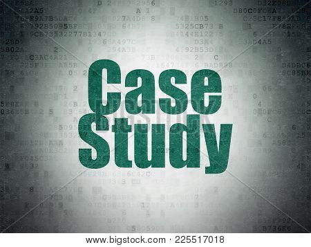 Studying Concept: Painted Green Word Case Study On Digital Data Paper Background