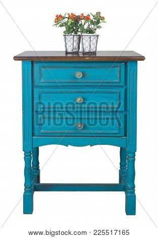 Vintage Furniture - Vintage Turquoise Commode (chest Of Drawers) With 3 Drawers With Brass Fittings