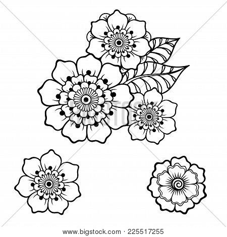 Henna Tattoo Flower Template In Indian Style. Ethnic Floral Paisley - Lotus. Mehndi Style. Ornamenta