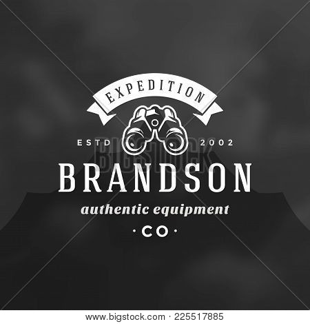 Expedition Logo Emblem Vector Illustration. Outdoor Adventure Leisure, Binoculars Silhouette Shirt,
