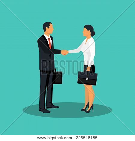 Handshake Man And Women. Meet Business Partners, Stylish Man In Suit, Woman. Business People Male An