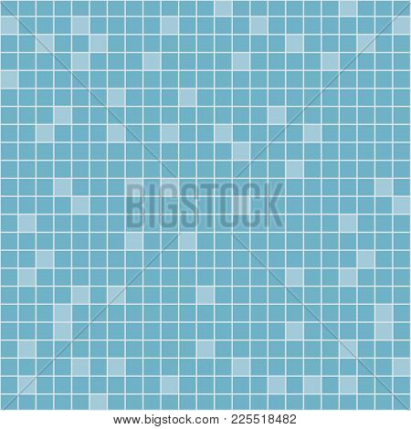 Tile Bathroom. Tile Of Blue On The Wall. Template For Sauna Bath. Vector Illustration Flat Design. I