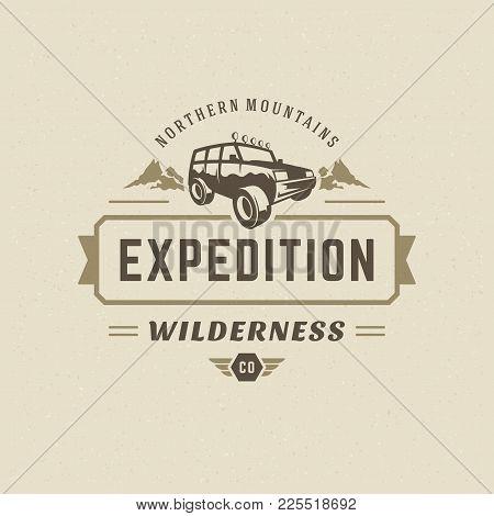 Off Road Car Logo Emblem Vector Illustration. Outdoor Extreme Adventure Expedition, Safari Suv Silho