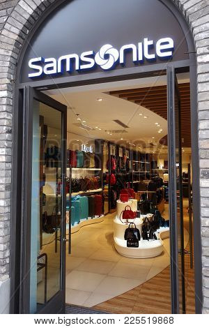 Shanghai, China- Jan 20, 2018: Samsonite Store In Shanghai, China. Samsonite International S.a. Is A