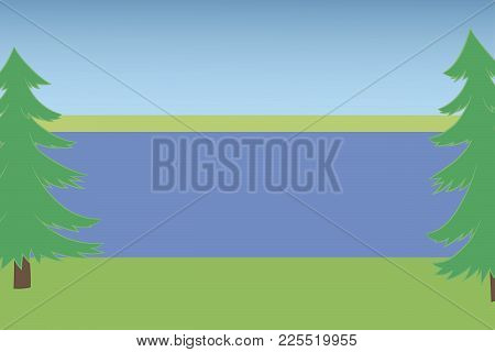 Landscape With Two Pines With Lake Sky And Earth Summer Hot Day Green Grass Blue Water