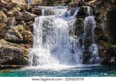 Wild Waterfall In Ordesa Valley, Aragon, Spain