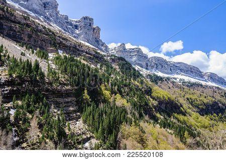 Mountain Chain In Ordesa Valley, Aragon, Spain