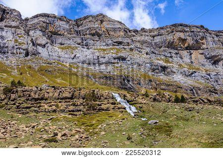 Waterfalls In Ordesa Valley, Aragon, Spain