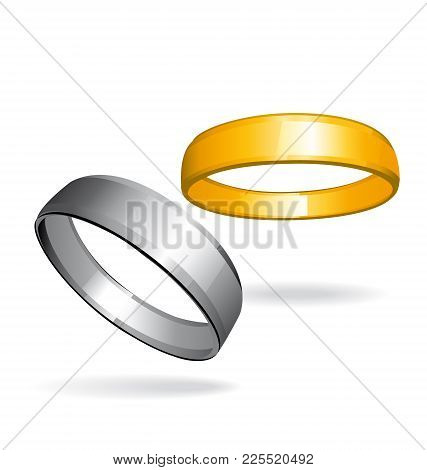 Two Wedding Rings. Silver And Gold Rings. Love Couple Vector Icon.