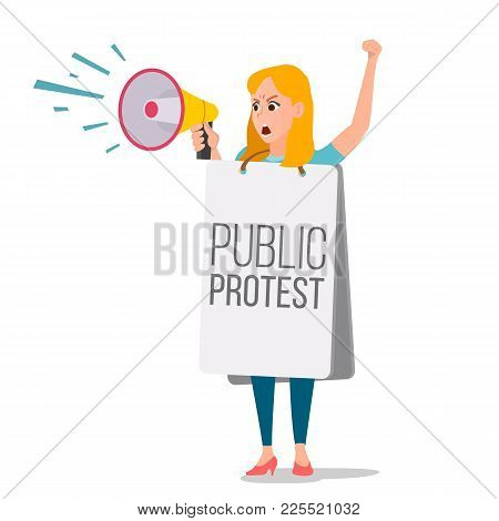 Woman Shouting Through Megaphone Vector. Public Female Protest. Public Speaker. Social Activist. Lou