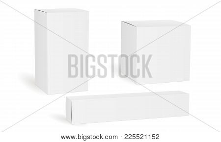 Set Of Blank White Cosmetic, Medical Or Product Boxes Isolated. Packaging Mockups Rectangular, Squar