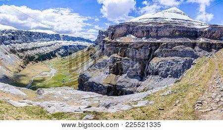 Snowy Peak In Ordesa Valley, Aragon, Spain