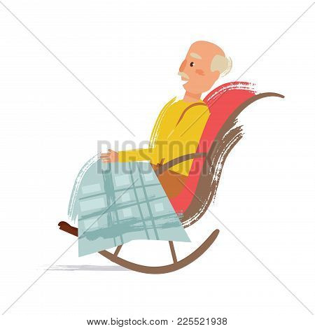 Grandpa In A Rocking Chair. Vector. Cartoon. Isolated Art On White Background. Flat