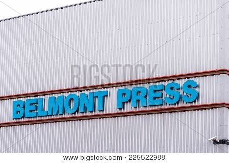 Northampton Uk January 11 2018: Belmont Press Printing Logo Sign Exterior.