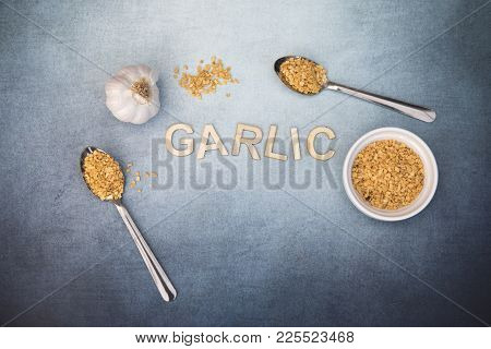 Garlic Food Background With Garlic Flakes And Whole Garlic, Taken With Copy Space