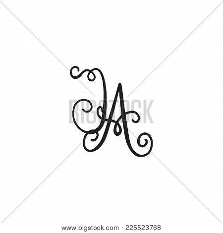 Handwritten Monogram Ja Icon, Logo With Swirls Isolated On White Background