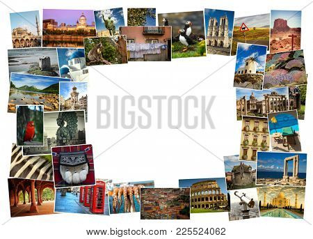 Collage from fabulous location from everywhere on white background with copy space on white background
