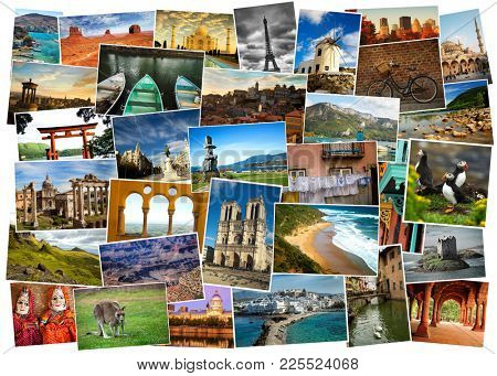 Collage from fabulous location from everywhere, landmark, landscape and  animals with white border