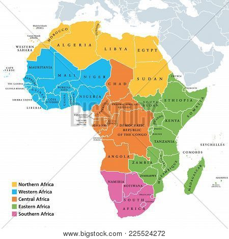 Africa Regions Political Map With Single Countries. United Nations Geoscheme. Northern, Western, Cen