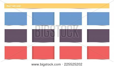 Sticker Set Isolated On White Background. Paper Sticky Tape With Shadow. Vector Office Color Post No